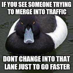 Angry Advice Mallard | IF YOU SEE SOMEONE TRYING TO MERGE INTO TRAFFIC DONT CHANGE INTO THAT LANE JUST TO GO FASTER | image tagged in angry advice mallard,AdviceAnimals | made w/ Imgflip meme maker