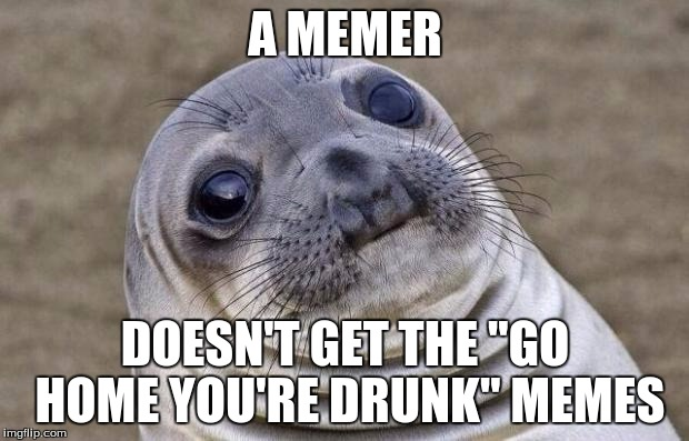"Awkward Moment Sealion Meme | A MEMER DOESN'T GET THE ""GO HOME YOU'RE DRUNK"" MEMES 