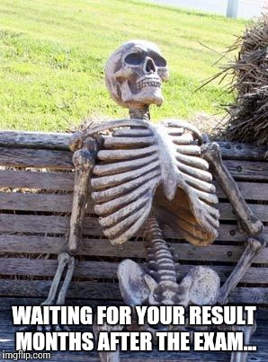 Waiting for exam results |  WAITING FOR YOUR RESULT MONTHS AFTER THE EXAM... | image tagged in memes,waiting skeleton,exam,exams,results,school | made w/ Imgflip meme maker