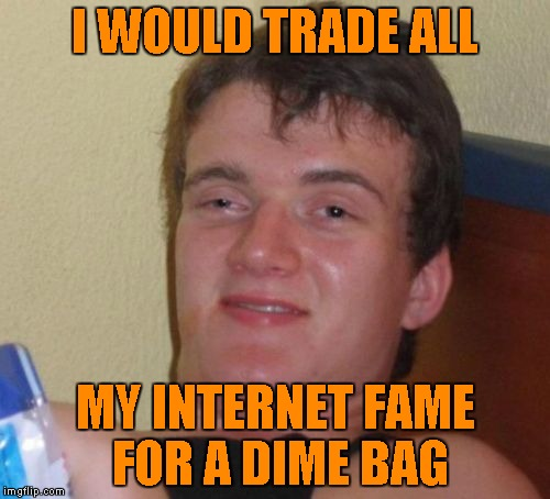 10 Guy Meme | I WOULD TRADE ALL MY INTERNET FAME FOR A DIME BAG | image tagged in memes,10 guy | made w/ Imgflip meme maker