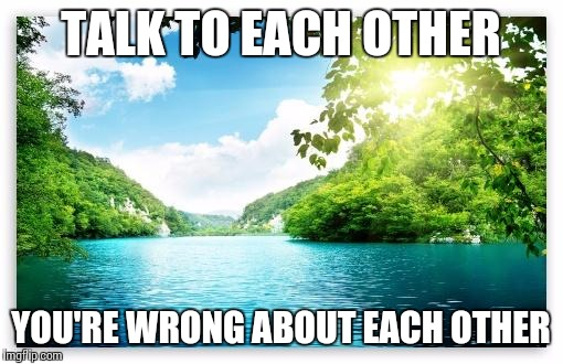 PeacefulLake | TALK TO EACH OTHER YOU'RE WRONG ABOUT EACH OTHER | image tagged in peacefullake | made w/ Imgflip meme maker