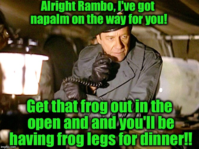Col. Trautman | Alright Rambo, I've got napalm on the way for you! Get that frog out in the open and and you'll be having frog legs for dinner!! | image tagged in col trautman | made w/ Imgflip meme maker