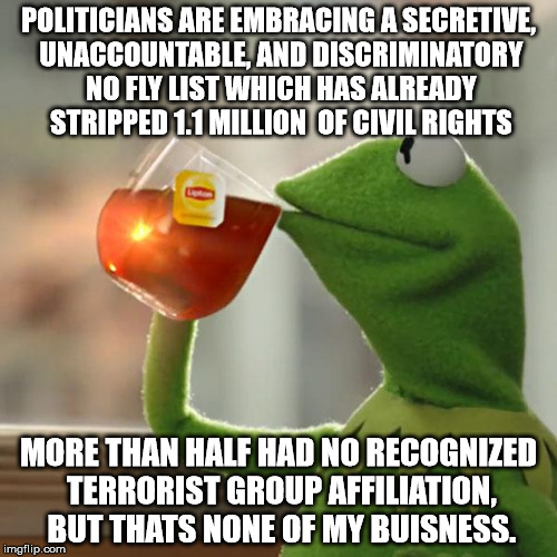 But Thats None Of My Business Meme | POLITICIANS ARE EMBRACING A SECRETIVE, UNACCOUNTABLE, AND DISCRIMINATORY NO FLY LIST WHICH HAS ALREADY STRIPPED 1.1 MILLION  OF CIVIL RIGHTS | image tagged in memes,but thats none of my business,kermit the frog,AdviceAnimals | made w/ Imgflip meme maker