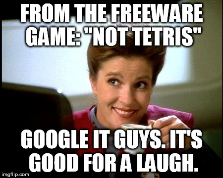 "Janeway | FROM THE FREEWARE GAME: ""NOT TETRIS"" GOOGLE IT GUYS. IT'S GOOD FOR A LAUGH. 