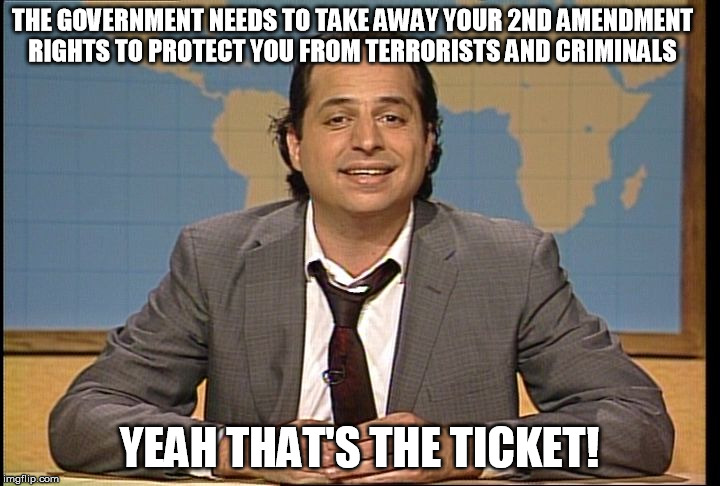 JON LOVITZ SNL LIAR | THE GOVERNMENT NEEDS TO TAKE AWAY YOUR 2ND AMENDMENT RIGHTS TO PROTECT YOU FROM TERRORISTS AND CRIMINALS YEAH THAT'S THE TICKET! | image tagged in jon lovitz snl liar,2nd amendment,gun control | made w/ Imgflip meme maker