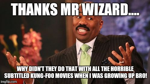 Steve Harvey Meme | THANKS MR WIZARD.... WHY DIDN'T THEY DO THAT WITH ALL THE HORRIBLE SUBTITLED KUNG-FOO MOVIES WHEN I WAS GROWING UP BRO! | image tagged in memes,steve harvey | made w/ Imgflip meme maker