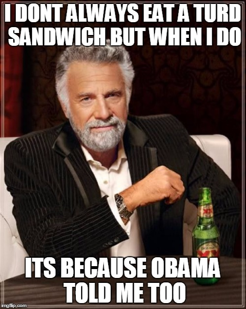 I DONT ALWAYS EAT A TURD SANDWICH BUT WHEN I DO ITS BECAUSE OBAMA TOLD ME TOO | image tagged in memes,the most interesting man in the world | made w/ Imgflip meme maker