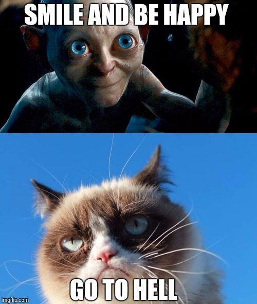 Grumpy cat meets smeagol | SMILE AND BE HAPPY GO TO HELL | image tagged in smeagol,grumpy cat,memes | made w/ Imgflip meme maker