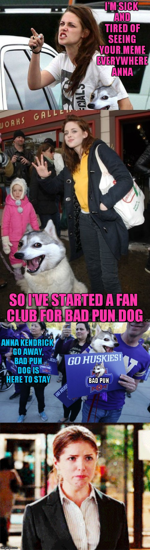 Uh-Oh looks like somebody is jealous of Anna's fame! | I'M SICK AND TIRED OF SEEING YOUR MEME EVERYWHERE ANNA BAD PUN SO I'VE STARTED A FAN CLUB FOR BAD PUN DOG ANNA KENDRICK GO AWAY, BAD PUN DOG | image tagged in kristen stewart,bad pun dog,meme war,bad pun anna kendrick | made w/ Imgflip meme maker