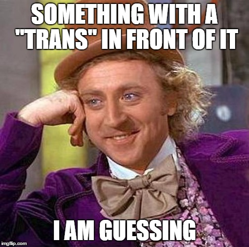 "Creepy Condescending Wonka Meme | SOMETHING WITH A ""TRANS"" IN FRONT OF IT I AM GUESSING 