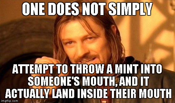 One Does Not Simply Meme | ONE DOES NOT SIMPLY ATTEMPT TO THROW A MINT INTO SOMEONE'S MOUTH, AND IT ACTUALLY LAND INSIDE THEIR MOUTH | image tagged in memes,one does not simply | made w/ Imgflip meme maker