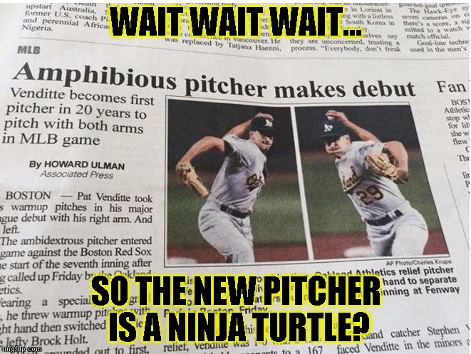 UUUHHH ....WHAT? | WAIT WAIT WAIT... SO THE NEW PITCHER IS A NINJA TURTLE? | image tagged in funny,baseball,memes,tmnt,science | made w/ Imgflip meme maker