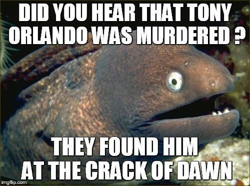 Bad Joke Eel Meme | DID YOU HEAR THAT TONY ORLANDO WAS MURDERED ? THEY FOUND HIM AT THE CRACK OF DAWN | image tagged in memes,bad joke eel | made w/ Imgflip meme maker