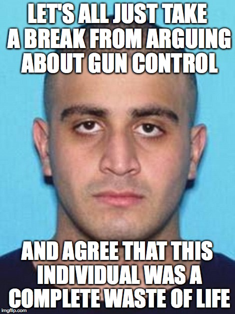 Omar Mateen | LET'S ALL JUST TAKE A BREAK FROM ARGUING ABOUT GUN CONTROL AND AGREE THAT THIS INDIVIDUAL WAS A COMPLETE WASTE OF LIFE | image tagged in omar mateen | made w/ Imgflip meme maker