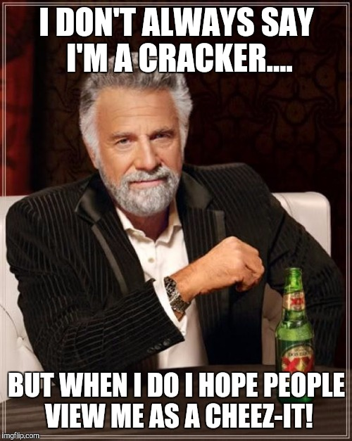 The Most Interesting Man In The World Meme | I DON'T ALWAYS SAY I'M A CRACKER.... BUT WHEN I DO I HOPE PEOPLE VIEW ME AS A CHEEZ-IT! | image tagged in memes,the most interesting man in the world | made w/ Imgflip meme maker