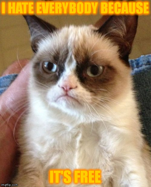 Grumpy Cat Meme | I HATE EVERYBODY BECAUSE IT'S FREE | image tagged in memes,grumpy cat | made w/ Imgflip meme maker
