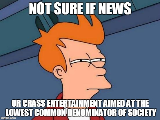 Sometimes you have to wonder | NOT SURE IF NEWS OR CRASS ENTERTAINMENT AIMED AT THE LOWEST COMMON DENOMINATOR OF SOCIETY | image tagged in memes,futurama fry,journalism,political,news,entertainment | made w/ Imgflip meme maker