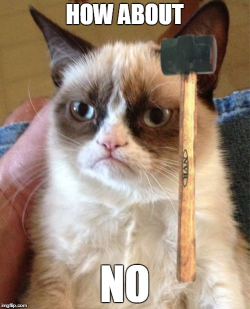Grumpy Cat Meme | HOW ABOUT NO | image tagged in memes,grumpy cat | made w/ Imgflip meme maker