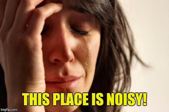 First World Problems Meme | THIS PLACE IS NOISY! | image tagged in memes,first world problems | made w/ Imgflip meme maker