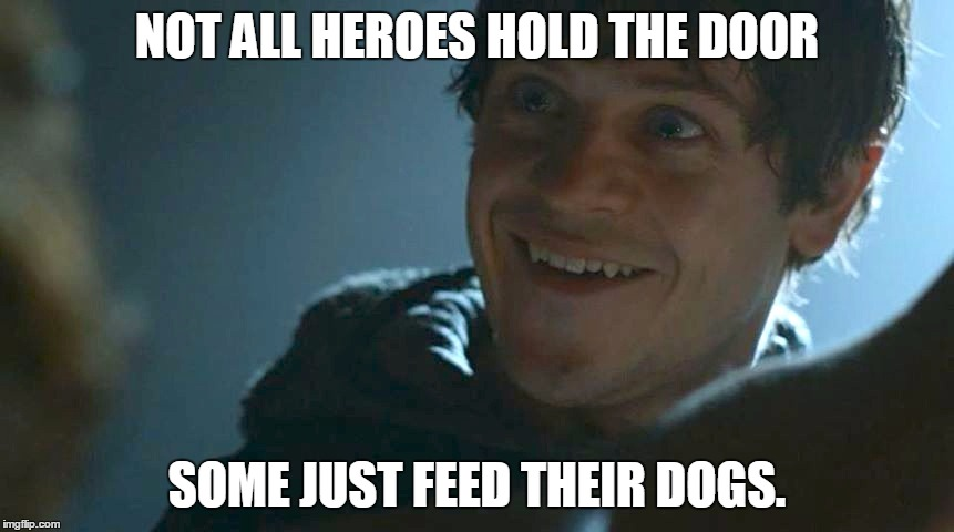Ramsay Bolton, the Hero |  NOT ALL HEROES HOLD THE DOOR; SOME JUST FEED THEIR DOGS. | image tagged in ramsay bolton,game of thrones,hold the door,memes | made w/ Imgflip meme maker