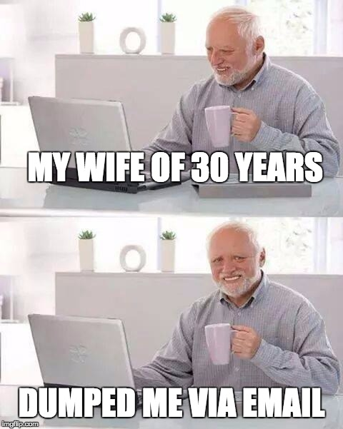 Hide the Pain Harold Meme | MY WIFE OF 30 YEARS DUMPED ME VIA EMAIL | image tagged in memes,hide the pain harold | made w/ Imgflip meme maker