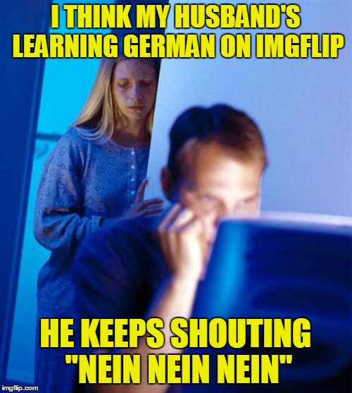 "I THINK MY HUSBAND'S LEARNING GERMAN ON IMGFLIP HE KEEPS SHOUTING ""NEIN NEIN NEIN"" 