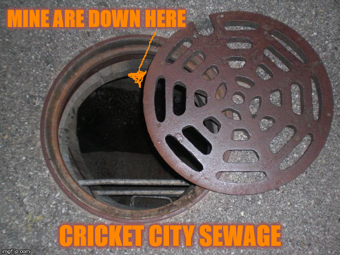 MINE ARE DOWN HERE CRICKET CITY SEWAGE | made w/ Imgflip meme maker