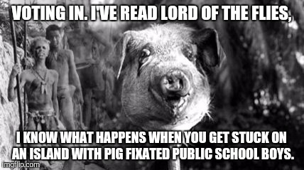 Lord of the Flies | VOTING IN. I'VE READ LORD OF THE FLIES, I KNOW WHAT HAPPENS WHEN YOU GET STUCK ON AN ISLAND WITH PIG FIXATED PUBLIC SCHOOL BOYS. | image tagged in brexit,lord of the flies | made w/ Imgflip meme maker