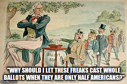 """Why should I let these freaks cast whole ballots when they are only half Americans?"" 