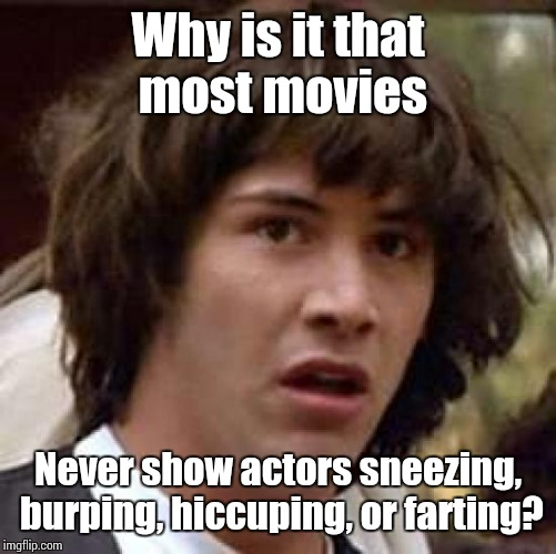 Conspiracy Keanu Meme | Why is it that most movies Never show actors sneezing, burping, hiccuping, or farting? | image tagged in memes,conspiracy keanu | made w/ Imgflip meme maker