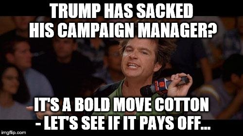 Bold Move Cotton | TRUMP HAS SACKED HIS CAMPAIGN MANAGER? IT'S A BOLD MOVE COTTON - LET'S SEE IF IT PAYS OFF... | image tagged in bold move cotton,memes,election 2016,trump,politics | made w/ Imgflip meme maker