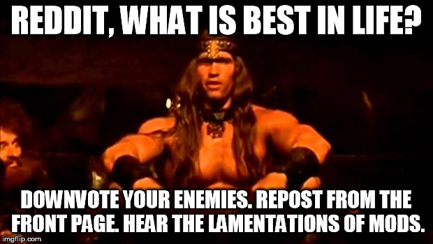 conan crush your enemies | REDDIT, WHAT IS BEST IN LIFE? DOWNVOTE YOUR ENEMIES. REPOST FROM THE FRONT PAGE. HEAR THE LAMENTATIONS OF MODS. | image tagged in conan crush your enemies,AdviceAnimals | made w/ Imgflip meme maker