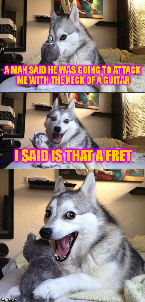 Bad Pun Dog Meme | A MAN SAID HE WAS GOING TO ATTACK ME WITH THE NECK OF A GUITAR I SAID IS THAT A FRET | image tagged in memes,bad pun dog | made w/ Imgflip meme maker