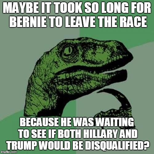 Philosoraptor Meme | MAYBE IT TOOK SO LONG FOR BERNIE TO LEAVE THE RACE BECAUSE HE WAS WAITING TO SEE IF BOTH HILLARY AND TRUMP WOULD BE DISQUALIFIED? | image tagged in memes,philosoraptor | made w/ Imgflip meme maker