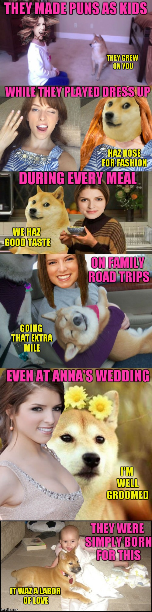 The life and times of Anna and Doge mastering puns... | THEY MADE PUNS AS KIDS IT WAZ A LABOR OF LOVE THEY GREW ON YOU WHILE THEY PLAYED DRESS UP HAZ NOSE FOR FASHION DURING EVERY MEAL WE HAZ GOOD | image tagged in meme war,anna kendrick,doge,kristen stewart,bad pun dog | made w/ Imgflip meme maker