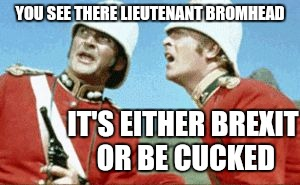 Michael Caine Brexit |  YOU SEE THERE LIEUTENANT BROMHEAD; IT'S EITHER BREXIT OR BE CUCKED | image tagged in brexit,new world order,eu,britain,brussels | made w/ Imgflip meme maker