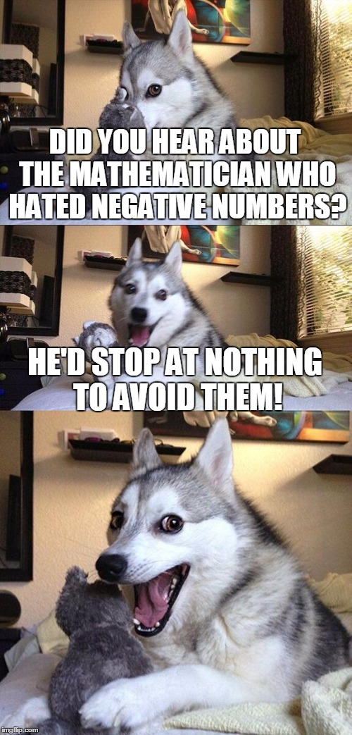 HAHA! Wait, am I actually making math jokes? | DID YOU HEAR ABOUT THE MATHEMATICIAN WHO HATED NEGATIVE NUMBERS? HE'D STOP AT NOTHING TO AVOID THEM! | image tagged in memes,bad pun dog,math,maths,math teacher,do the math | made w/ Imgflip meme maker