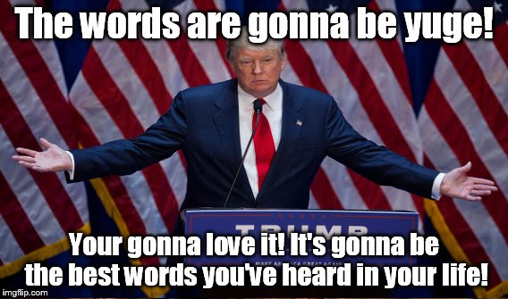 The words are gonna be yuge! Your gonna love it! It's gonna be the best words you've heard in your life! | made w/ Imgflip meme maker
