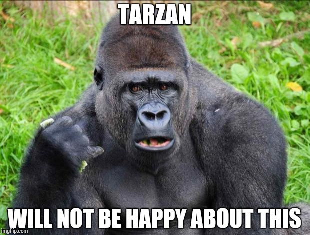 Gorilla Fans | TARZAN WILL NOT BE HAPPY ABOUT THIS | image tagged in gorilla fans | made w/ Imgflip meme maker