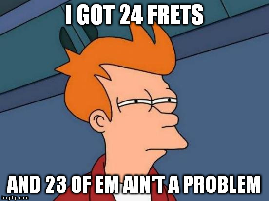 Futurama Fry Meme | I GOT 24 FRETS AND 23 OF EM AIN'T A PROBLEM | image tagged in memes,futurama fry | made w/ Imgflip meme maker