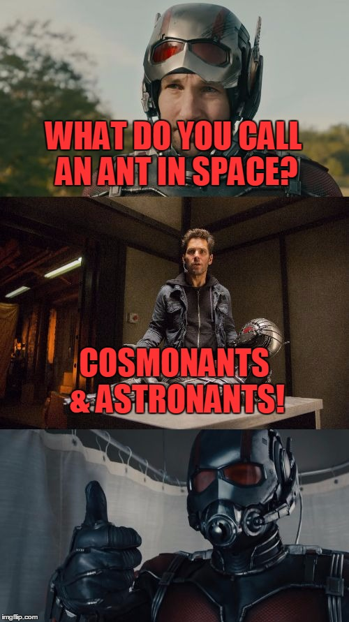 Bad Pun Ant-Man |  WHAT DO YOU CALL AN ANT IN SPACE? COSMONANTS & ASTRONANTS! | image tagged in bad pun ant-man,memes,bad pun,ant-man,funny,marvel | made w/ Imgflip meme maker