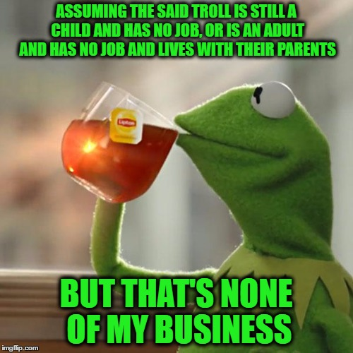But Thats None Of My Business Meme | ASSUMING THE SAID TROLL IS STILL A CHILD AND HAS NO JOB, OR IS AN ADULT AND HAS NO JOB AND LIVES WITH THEIR PARENTS BUT THAT'S NONE OF MY BU | image tagged in memes,but thats none of my business,kermit the frog | made w/ Imgflip meme maker