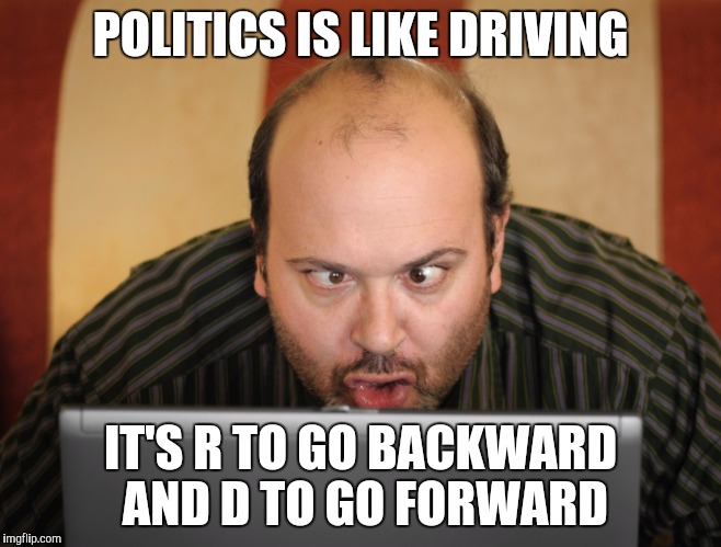 POLITICS IS LIKE DRIVING IT'S R TO GO BACKWARD AND D TO GO FORWARD | made w/ Imgflip meme maker