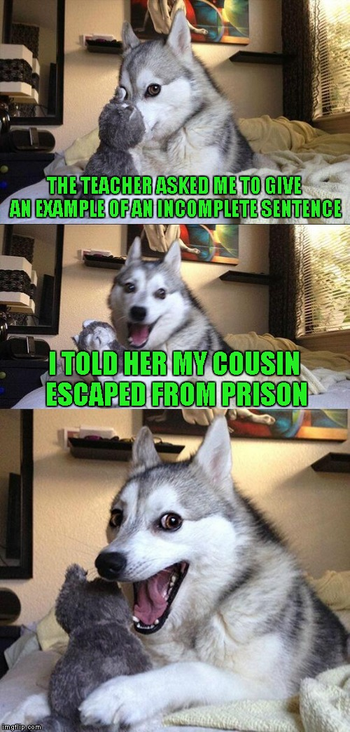 Bad Pun Dog |  THE TEACHER ASKED ME TO GIVE AN EXAMPLE OF AN INCOMPLETE SENTENCE; I TOLD HER MY COUSIN ESCAPED FROM PRISON | image tagged in memes,bad pun dog | made w/ Imgflip meme maker