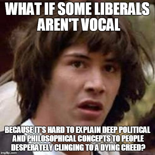 Conspiracy Keanu Meme | WHAT IF SOME LIBERALS AREN'T VOCAL BECAUSE IT'S HARD TO EXPLAIN DEEP POLITICAL AND PHILOSOPHICAL CONCEPTS TO PEOPLE DESPERATELY CLINGING TO  | image tagged in memes,conspiracy keanu | made w/ Imgflip meme maker