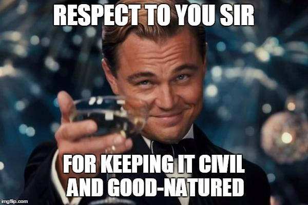 Leonardo Dicaprio Cheers Meme | RESPECT TO YOU SIR FOR KEEPING IT CIVIL AND GOOD-NATURED | image tagged in memes,leonardo dicaprio cheers | made w/ Imgflip meme maker