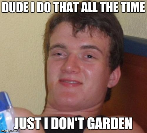 10 Guy Meme | DUDE I DO THAT ALL THE TIME JUST I DON'T GARDEN | image tagged in memes,10 guy | made w/ Imgflip meme maker