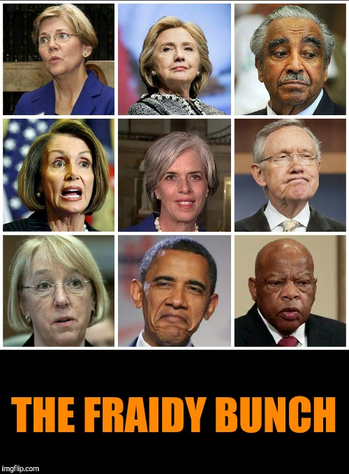 Or is it The James Brady Bunch? | THE FRAIDY BUNCH | image tagged in john lewis,charlie rangel | made w/ Imgflip meme maker