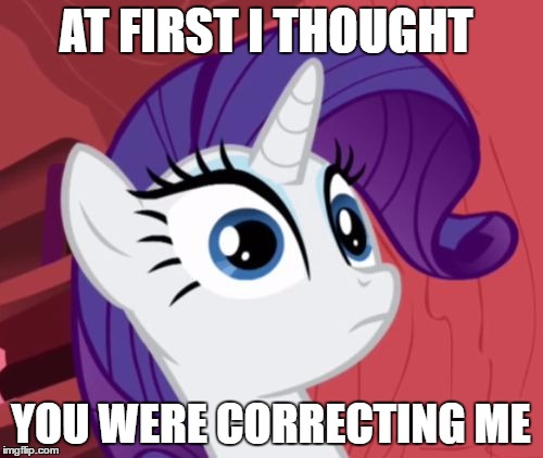 Awkward Moment Rarity | AT FIRST I THOUGHT YOU WERE CORRECTING ME | image tagged in awkward moment rarity | made w/ Imgflip meme maker