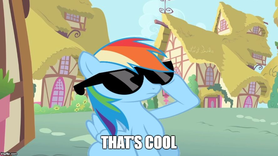 Rainbow Dash Shades | THAT'S COOL | image tagged in rainbow dash shades | made w/ Imgflip meme maker